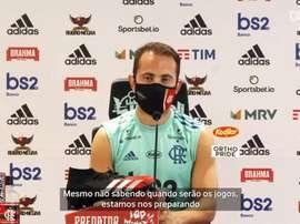 Everton Ribeiro participou de entrevista coletiva. DUGOUT