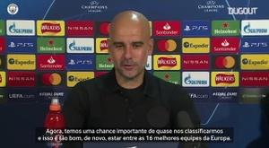 Pep Guardiola falou com a imprensa antes do duelo entre Manchester City e Olympiacos. DUGOUT