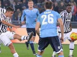 Dybala, en el momento del segundo gol ante la Lazio. Twitter