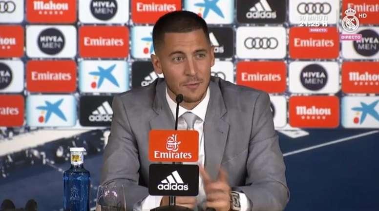 La presentación de Eden Hazard con el Real Madrid. Capturas/RealMadrid