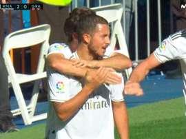 Saiu o primeiro gol de Hazard! Captura/Movistar