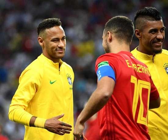 Marcelo chooses between Hazard and Neymar. AFP