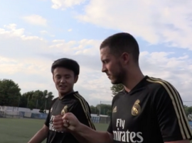 Kubo and Hazard seem to getting on well in Montreal. Captura/RealMadrid