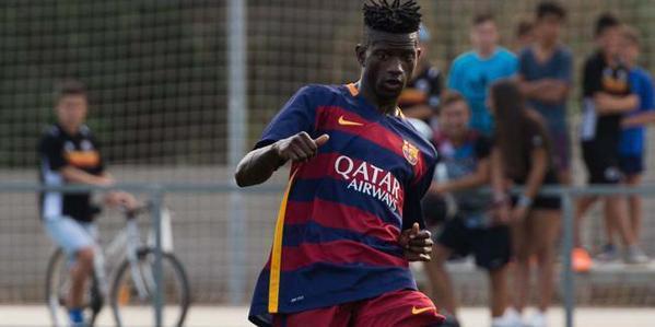 Edgar Ié, en un partido de pretemporada con el Barça B. Twitter