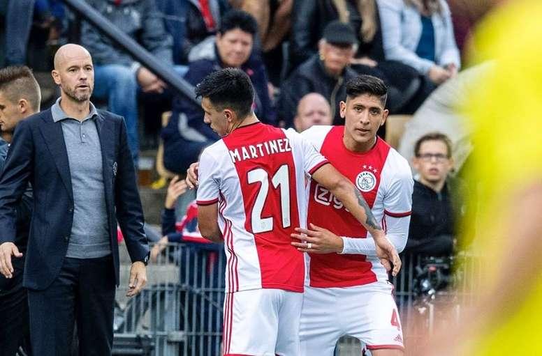 Ten Hag, satisfecho con Edson Álvarez y Lisandro Martínez. Twitter/Ajax