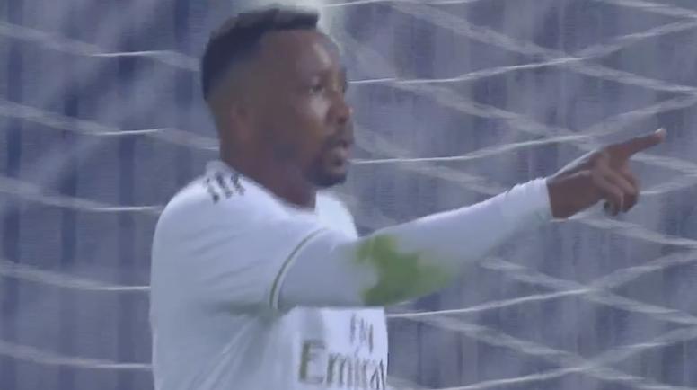 Edwin Congo celebró uno de sus goles ante el Bologna. Captura/RealMadrid
