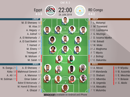 Egypt v DR Congo, Africa Cup of Nations, Group A, 26/06/19, Official Lineups, BeSoccer