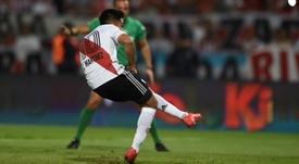 El 'Pity' Martínez recordó sus goles en River. Twitter/CARPoficial