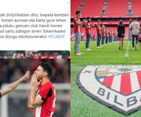 Augsburg wrote a message to Aritz Aduriz. Twitter/Athletic/FCAugsburg