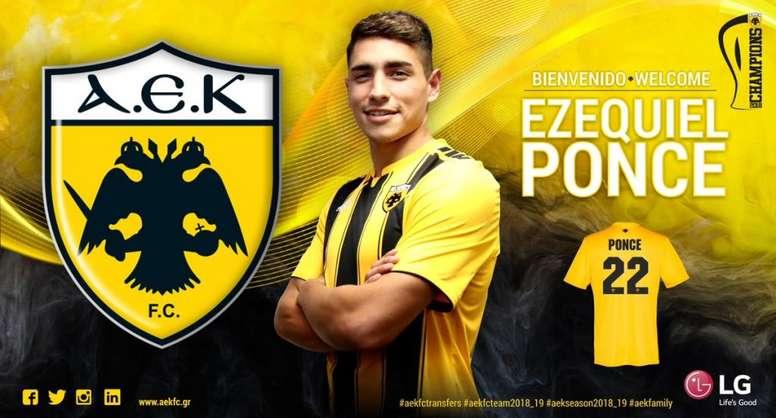 El AEK anunció la incorporación de Ezequiel Ponce. AEKFC
