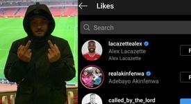 Lacazette desató la polémica con su 'like'. Instagram