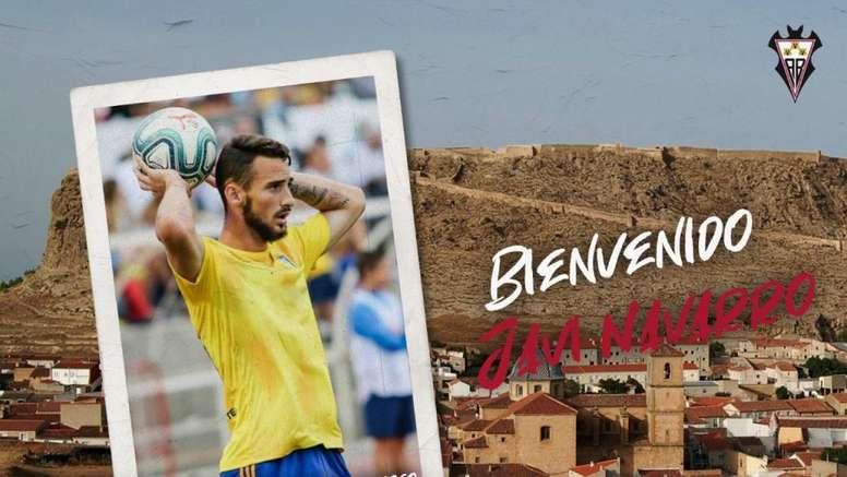 Javi Navarro, nuevo refuerzo del Albacete. Twitter/AlbaceteBPSAD
