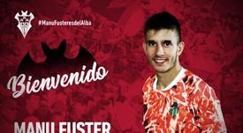 El Albacete anunció el fichaje de Manu Fuster. Twitter/AlbaceteBPSAD