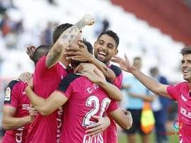 El Albacete celebra uno de los dos tantos de César ante el Sevilla Atlético. LaLiga