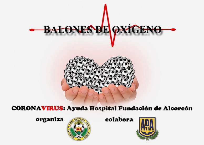 El Alcorcón inició una campaña contra el coronavirus. Twitter/AD_Alcorcon