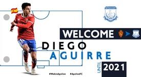 El Apollon Limassol de Chipre hizo oficial el fichaje de Diego Aguirre. Twitter/APOLLONOFFICIAL