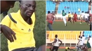 El árbitro del DCMP - Dauphin Noir quedó así tras sufrir una paliza por parte de los aficionados del equipo local. Youtube