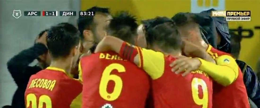 Grigalava marcó el gol del empate. Captura/MatchTV