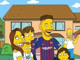 Messi y su familia, caricaturizados en Springfield. Instagram/Steart__