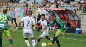 Menudo hizo dos goles al Guijuelo. Twitter/CyDLeonesa