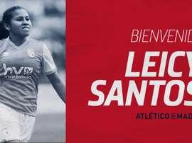 Atleti y Santa Fe acuerdan la cesión de la colombiana Leicy Santos. Twitter/AtletiFemenino