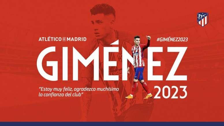 El Atlético contará con Giménez hasta 2023. Atleti