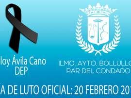 El Ayuntamiento ha decretado un día de luto por la muerte de Eloy Ávila Cano. AytoBollullos