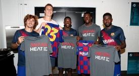 El Barça recibió la visita de dos jugadores de la NBA. MiamiHeat