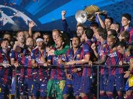 Le Barcelone célèbre sa dernière Ligue des champions. APF