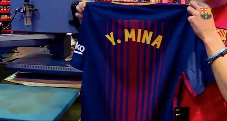 Torcedores do Barça já podem comprar a camisa de Mina. Twitter/Barcelona
