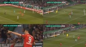 El Bayern se puso 0-2, pero el Werder Bremen empató en dos jugadas consecutivas. Captura/ARDDasErste