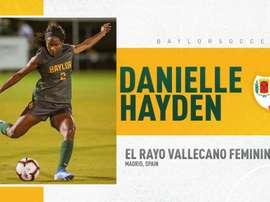 Danielle Hayden es el cuarto refuerzo del Rayo Femenino. Twitter/BaylorSoccer