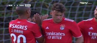 Un Almería mejor en ataque que en defensa cae ante el Benfica. Captura/BTV