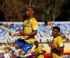 El brasileño Leandro celebra su gol marcado a Guinea, el segundo de la tarde. FIFA