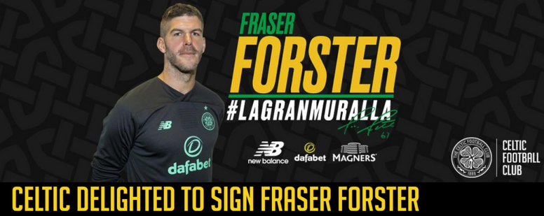 El Celtic confirmó la vuelta de Fraser Forster. Twitter/CelticFC