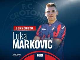 Luka Markovic se une a la difícil misión del Crotone. FCCrotone