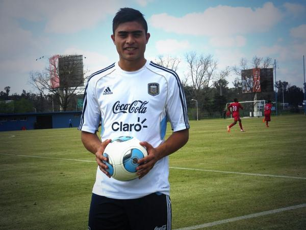 El defensor Rodrigo Moreira, en un entrenamiento con la Selección Argentina. RodriMoreira
