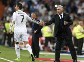 Cristiano Ronaldo e Carlo Ancelotti um reencontro esperado por muitos. EFE