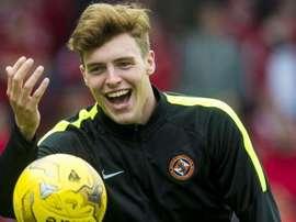 El delantero Robbie Muirhead, de 20 años, en su etapa con el Dundee United. AFP