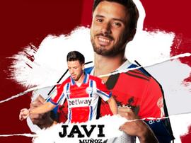 Javi Muñoz, nuevo jugador del Mirandés. Captura/Twitter/CDMirandes