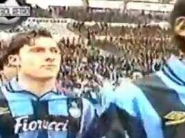 Totti vestiu a camisa da Inter. Captura/FútbolRetro
