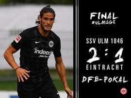 El modesto Ulm sorprendió al campeón. Twitter/Eintracht