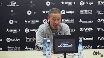 Óscar Cano cree que es obligatorio ganarle al Mirandés. Captura/CDCastellón