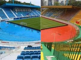 El Guangzhou R&F atrajo la buena suerte pintando su estadio de dorado. AFP