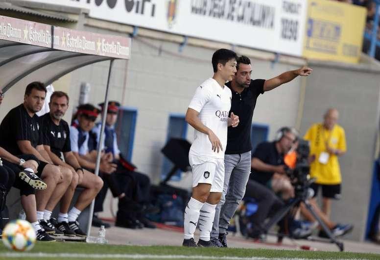 Xavi dirigió su primer partido como entrenador en Palamós. Twitter/AlsaddSC