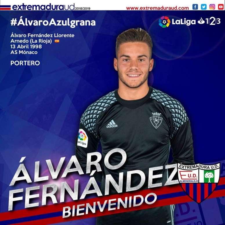 Álvaro Fernández llega cedido. Twitter/EXT_UD