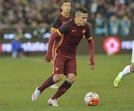 L'attaquant de l'AS Rome, Juan Iturbe, dans un match de présaison contre le Real Madrid. ASRoma