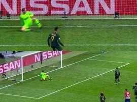 Falcao a loupé le penalty face à son ancien club. capture/Movistar