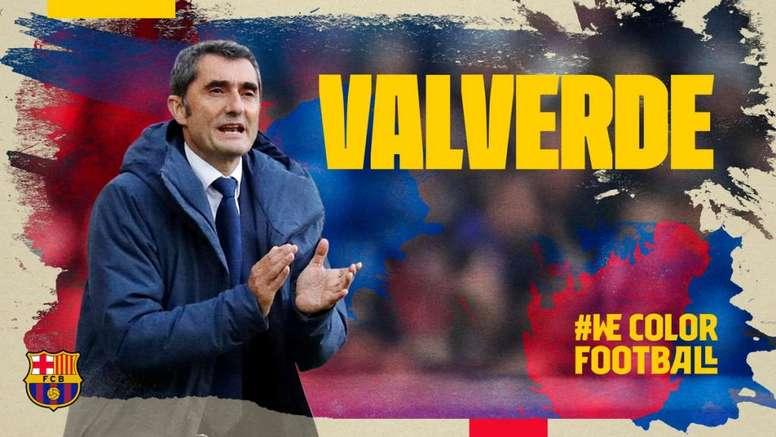 Valverde renueva con el Barça hasta 2020. FCBarcelona