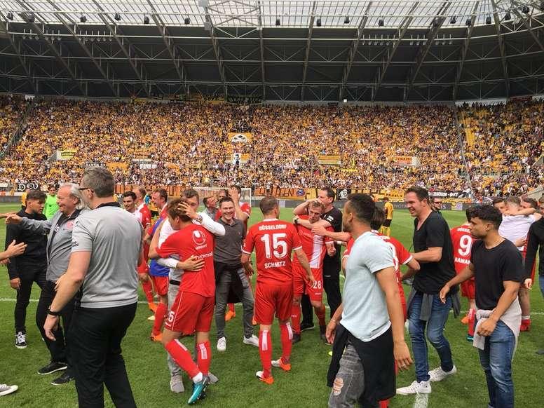Dusseldorf regressa à Bundesliga. Twitter/F95